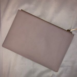 Whistles small baby pink/dusty rose leather clutch